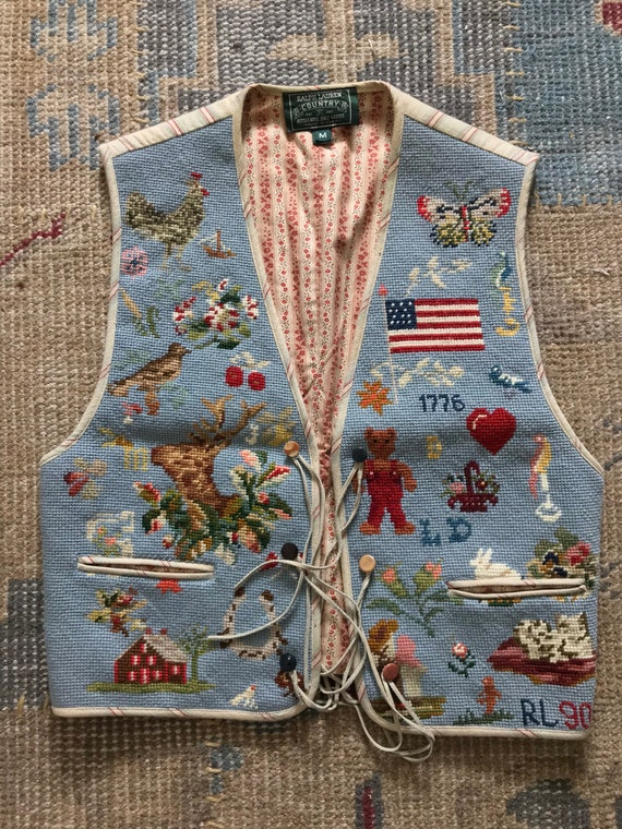 Vintage Ralph Lauren Vest Needlepoint Vest Country