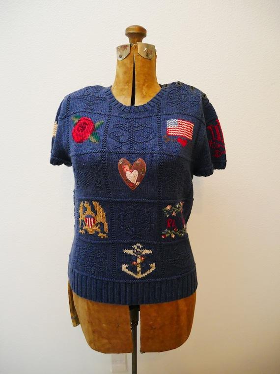 Ralph Lauren Knit Patchwork Sweater Shirt Flag Equ