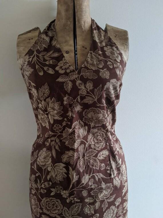 Vintage Ralph Dress Halter Cotton Floral Brown - image 2