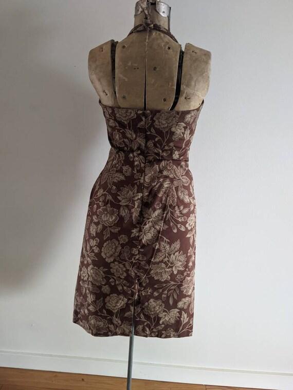 Vintage Ralph Dress Halter Cotton Floral Brown - image 5