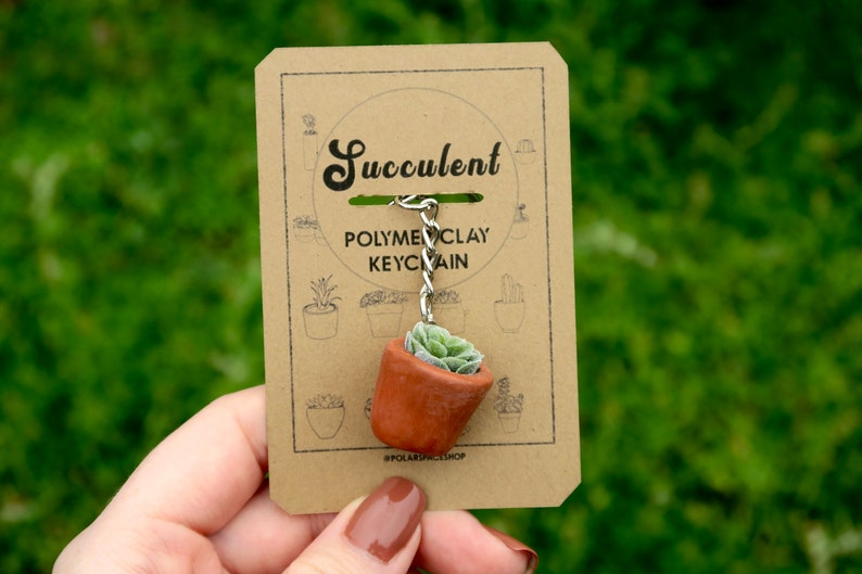 Succulent Polymer Clay Keychain Rustic Terracotta Plant Pot Handmade