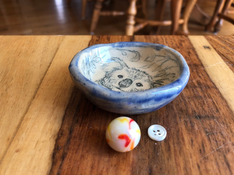 stamp decal Tea Bag Holder Not a print Outer Glaze Sky Blue. Cupcake Holder Adorable Koala Hand Drawn on a Hand Made Ceramic Ring Dish