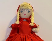 VINTAGE 1980s 3-in-1 Topsy Turvy Doll, Little Red Riding Hood - 13 quot tall