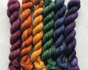 Autumnal rainbow mini set - hand dyed yarn, superwash merino