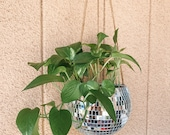 8 Silver Hanging Disco Ball Plant Holder