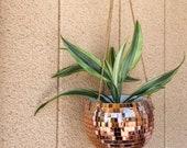 8 Rose Gold Disco Ball hanging plant holder