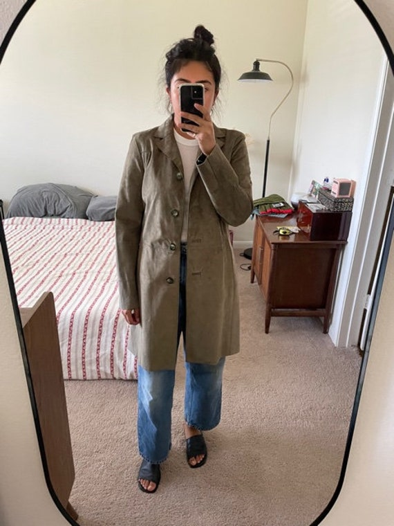 Olive suede duster - image 1