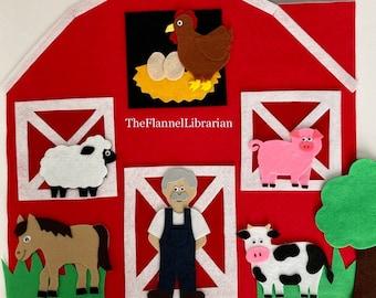 Large 18in. Peekaboo Barn Felt Board Set + 6 Farm Friends Cow Pig Hen Sheep Horse Farmer Old MacDonald Preschool Flannel Board + 5 Songs