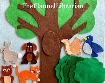 Large 20in Peekaboo Felt Tree + 6 Backyard Friends Cat Dog Squirrel Rabbit Owl Bird Preschool Felt Board/Flannel Board + 3 Songs