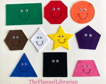 10 Little Happy Shapes Felt Board Set for Flannel Board Teaching/Preschool Circle Time/Storytime/Learn Shapes/Colors + 2 Songs and Book List