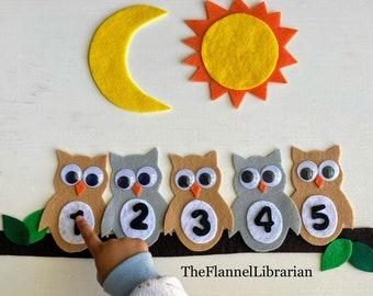 5 Sleepy Owls Felt Board Set for Flannel Board Teaching/Preschool Circle Time/Storytime + 1 Song Included
