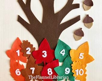 10 Autumn Leaves + 17 in. Felt Tree/Hide Acorns Game/Flannel Board/Felt Board Teaching/Preschool Circle Time/Storytime + 2 Songs/1 Activity
