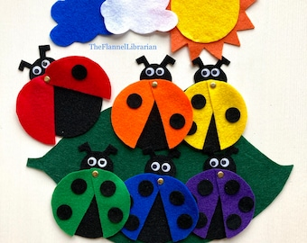 6 Little Ladybugs Rainbow Felt Board Set w/moveable wing Spring Flannel Board Teaching/Preschool Circle Time/Storytime + 3 Songs