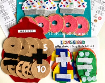 Math Skills Felt Bundle for Preschool & Kindergarten/Flannel Board/Early Math/Addition/Subtraction/Patterns/Counting/4 Songs + 4 Activities