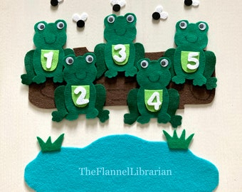 5 Green Speckled Frogs Classic Felt Board Set/Flannel Board Teaching/Preschool Circle Time/Storytime/Counting/Rhyming + Laminated Song Sheet
