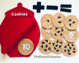 10 Little Cookies Early Math Felt Board Flannel Board Teaching/Preschool Circle Time/Storytime/Numbers/Counting/Math + 1 Song + 2 Activities