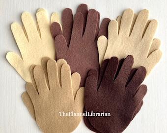 Multicultural Hands 10 pc Felt Board Set/Flannel Board/Preschool Circle Time + Song, Conversation Starters/Book List