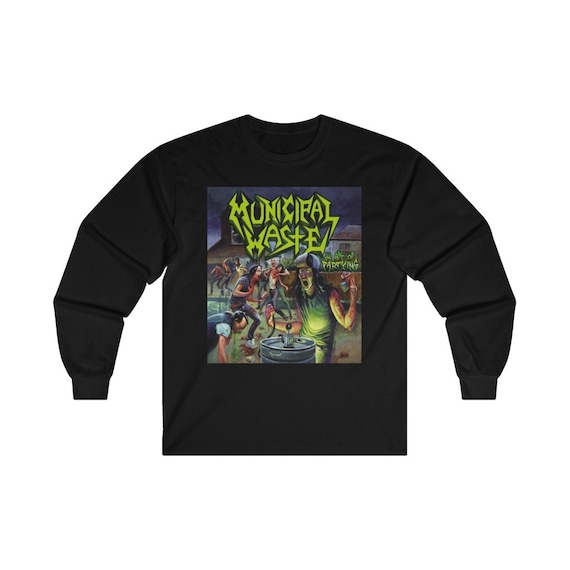 New Municipal Waste Long Sleeve Shirt Art Of Partying Thrash Metal Patch Ultra Cotton