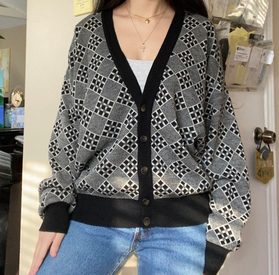 1990s Black and White Checkered Cardigan