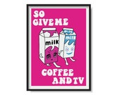 BLUR Coffee and Tv Poster Print