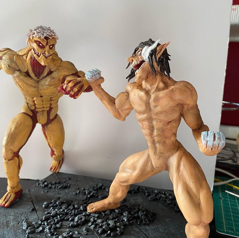 Attack on Titan Eren vs Reiner Handmade Clay Sculpture