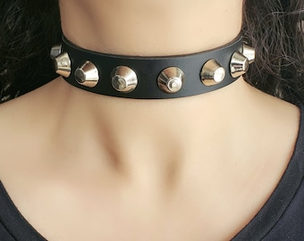 Women Girls Spike Goth Spiked Collar Necklaces Black Gothic Leather Choker Gifts