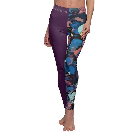 Leggings with different colored legs Women/'s Cut Sew Casual Skinny fit Leggings Super Soft Colorful Printed Artistic Abstract art Patterns