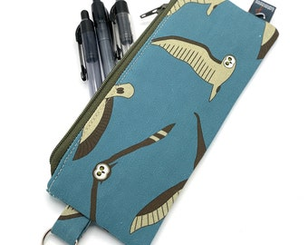 Pencil Case Mother and Chick Handmade Organic Cotton Piping Plover Skinny Keychain Zippered Pouch Linen Hemp