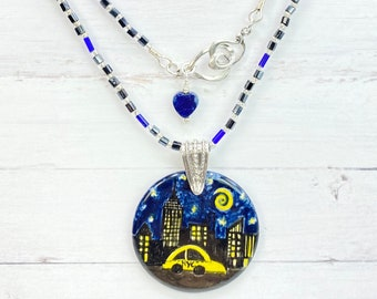 Hail to the NYC Taxi Hand-painted Pendant Necklace, Jewelry Gift for Her, Christmas Gift for Her, Gift for Daughter, Gift for Girlfriend,
