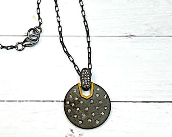 Diamond and Oxidized Sterling Silver Pendant Necklace, Gift for Her, Christmas Gift for Her, Gift for Daughter, Gift for Girlfriend
