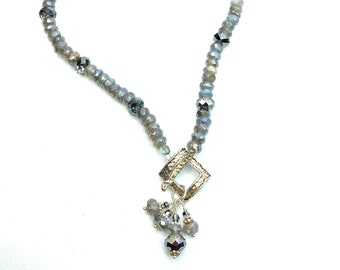 Labradorite, Swarovski Crystal, Sterling Silver Necklace, Jewelry Gift for Her, Wife
