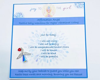 Reiki Energized Affirmation Angel, Stocking Stuffer, Angel Charm, Swarovski Crystal, Christmas Gift for Mom, Angel Gift, Affirmations