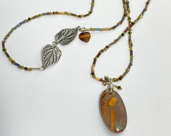 Boulder Opal Pendant Necklace, Sterling Silver Leaf Clasp, Swarovski Crystal and Czech Glass Beads, Jewelry Gift for Her, Wife