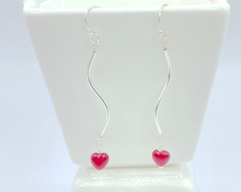 Dangle Heart Sterling Silver Earrings, Jewelry Gift for Her, Wife Gift, Valentine Gift for Her, Gift for Daughter, Gift for Girlfriend