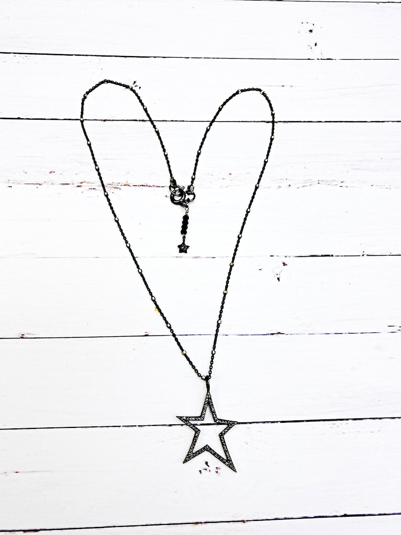 Gift for Daughter Gift for Girlfriend Gift for Her Christmas Gift for Her Diamond and Oxidized Sterling Silver Star Pendant Necklace