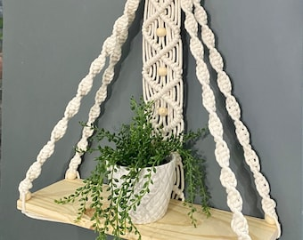 Macrame hanging wooden Shelf