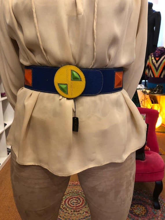 Jean Patou blue and yellow belt - image 3