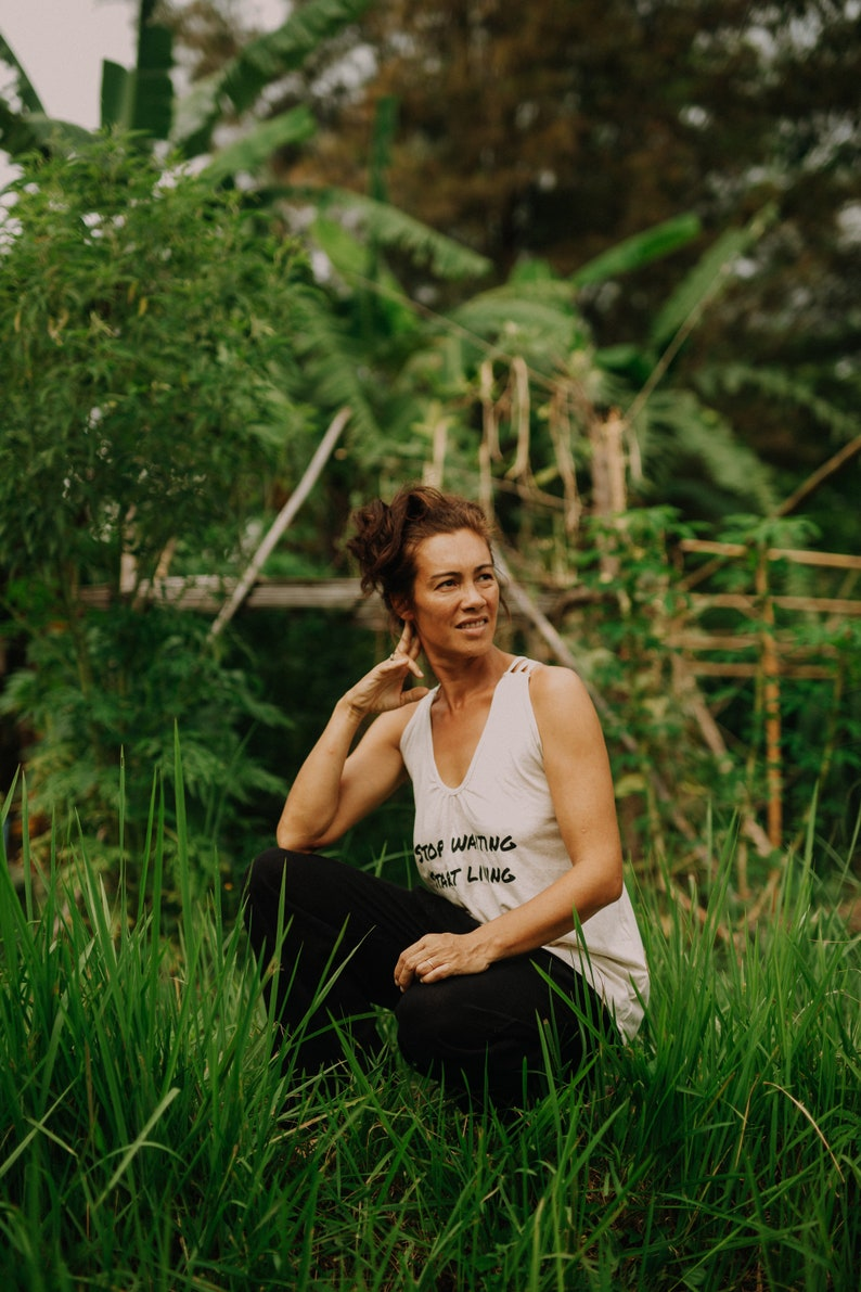 Garden Clothing White Linen Cotton Cross Top for Women Sleeveless Print Top for Summer Elegant Loose Top for Yoga Open Back Hippie Top