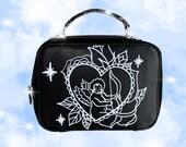 LOVE ANGEL BAG, hand bag, shoulder bag, painted bag, painted purse, small purse, black purse, black small bag, black bag, angel, mini purse