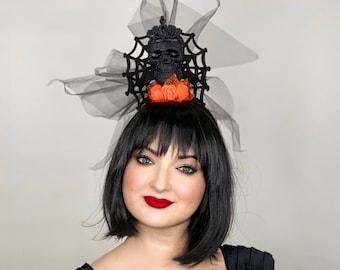 velvet black spiders Made to order Bespoke handmade large orange /& deep red rose floral Halloween Headdress with deep red velvet skulls