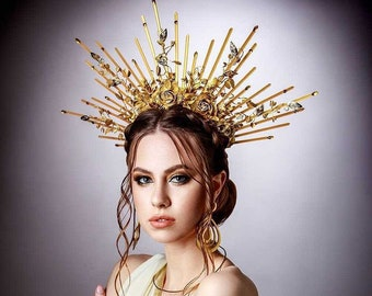 Goddess crown, Spike halo headpiece, Sunburst crown gold, Halo crown, Halo sunburst headpiece, Spike goddess headpiece, Gala headband