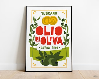 Kitchen Poster Print | Italian Olive Oil Poster | Foodie Gift | Wall Decor |Quirky Art Print | Housewarming Gift | Mid-Century | Vintage