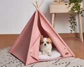 Pet Teepee With Fur Pillow, Pink House For Cats And Small Dogs Made Of Felt, Sleeping Place For Cat And Dog, Bed For Animals