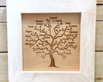 Custom Family Tree, Tree of Life, Family Tree, Personalized Sign, Mother's Day Gift, Father's Day Gift, Anniversary Gift ,Framed 7x7