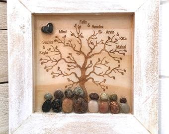 Custom Family Tree, Pebble Art Family, Family Tree, Pebble Art, Mother's Day Gift, Father's Day Gift, Birthday Gift, Framed 7x7
