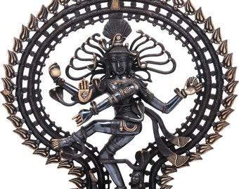 HANDMADE BRASS NATARAJA Vintage Look black mirror finish,dancing shiva,god of dance,lord nataraj,tandava Shiva,lord shiva,om namah shivay,om