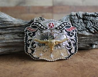 CW-13-S Vintage Longhorn Men/'s Belt Buckle Western Cowboy Native American