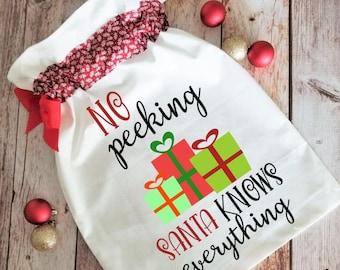 No Peeking Santa Bag SVG cut file   santa sack cutting file   present bag   special deliver png