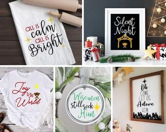 Beautiful Religious SVG Cut file bundle   Silent Night svg   Wise men still seek   Joy to the World   Cricut   Christmas cut files