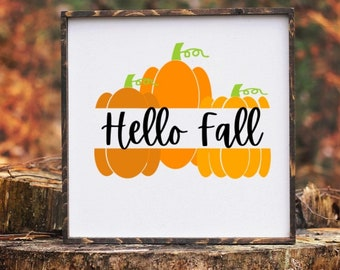 Hello Fall svg cut file   pumpkin cutting file   fall sign   cricut   silhouette